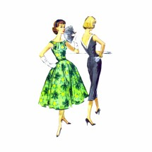 1950s V-Back Cocktail Party Dress Slim or Full Skirt McCalls 4417 Vintage Sewing Pattern Size 13 Bust 33