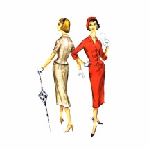 1950s Two Piece Dress Jacket Top Skirt McCalls 4523 Vintage Sewing Pattern Size 16 Bust 36