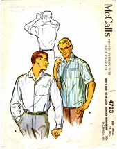 McCall's 4723 Mens Shirt Chest 34 - 36