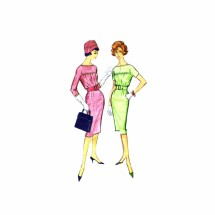 1960s Misses Slim Dress McCalls 5091 Vintage Sewing Pattern Size 14 Bust 34