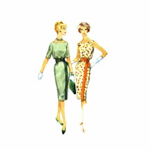 1950s Scoop Neck Slim Dress McCalls 5275 Vintage Sewing Pattern Size 12 Bust 32