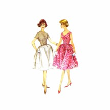 1960s Double Breasted Full Skirt Dress McCalls 5417 Vintage Sewing Pattern Size 10 Bust 31