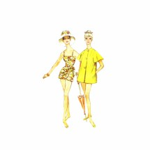 1960s Sarong Bathing Suit Skirted Swimsuit Beach Coat McCalls 5455 Vintage Sewing Pattern Size 14 Bust 34