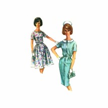 1960s Misses Slim or Full Skirt Dress McCalls 6176 Vintage Sewing Pattern Size 14 Bust 34