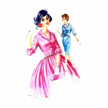 1960s Slim or Full Skirt Dress McCalls 6323 Vintage Sewing Pattern Size 12 Bust 32