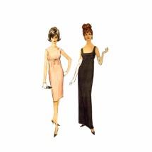 1960s High Waist Evening Cocktail Dress McCalls 7043 Vintage Sewing Pattern Size 9 Bust 30 1/2