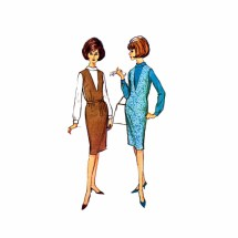 1960s Misses Jumper Blouse McCalls 7232 Vintage Sewing Pattern Size 14 Bust 32