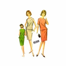 1960s Bill Blass Top Skirt Two Piece Dress McCalls 8313 Vintage Sewing Pattern Size 14 Bust 34
