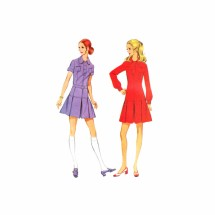 1970s Misses Drop Waist Pleated Skirt Dress McCalls 2262 Vintage Sewing Pattern Size 12 Bust 34