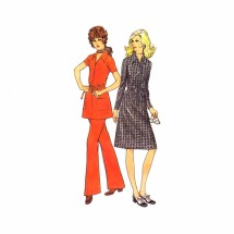 1970s Front Zipped Dress Top Pants McCalls 2978 Vintage Sewing Pattern Size 14 Bust 36