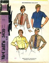 McCall's 3439 Vintage Sewing Pattern Men's Dress & Sport Knit Shirts Chest 38