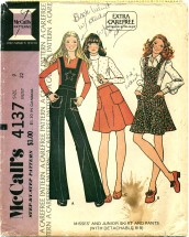 McCall's 4137 Skirt & Pants with Detachable Bib Size 9