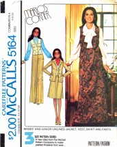 McCall's 5164 Vintage Sewing Pattern Marlo's Corner Jacket Vest Skirt Pants Size 6 - 8 - 10