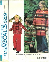 McCall's 5259 Unisex Unlined Coat or Jacket Size 2 - 4