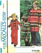 McCall's 5259 Unisex Unlined Coat or Jacket Size 6 - 8