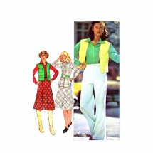 1970s Misses Shirt Skirt Vest Pants McCalls 5435 Vintage Sewing Pattern Size 12 Bust 34
