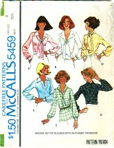 McCall's 5459 Sewing Pattern Set of Blouses Size 8 - Bust 31 1/2