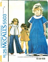 McCall's 5503 Girls Dress or Top & Panties Size 6
