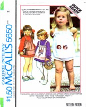 McCall's 5650 Toddler Girls Raggedy Ann & Andy Dress Apron-Dress Panties Vintage Sewing Pattern Size 2