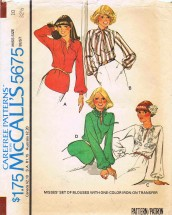 1970's McCall's 5675 Sewing Pattern Set of Blouses Iron-On Transfer Size 10 Bust 32 1/2