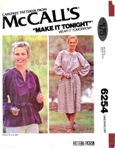 McCall's 6254 Dress or Top Size 4 - 24 - Bust 29 1/2 - 46