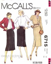 McCall's 6715 Jacket Blouse Skirt Suit Size 12 - Bust 34