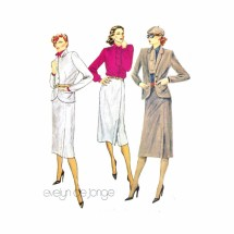 1970s Misses Jacket Blouse Skirt Suit Evelyn de Jonge McCalls 6721 Vintage Sewing Pattern Size 12 Bust 34