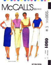 McCall's 6981 Straight Skirts Size 14 - Waist 28