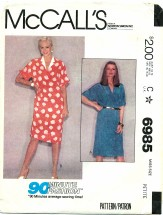 McCall's 6985 Pullover 90 Minute Dress Size 6 - 8