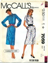 McCall's 7059 CHARLOTTE FORD Slim Dress Size 8