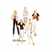 1980s Saint-Tropez West Jacket Skirt Pants Shorts McCalls 7066 Vintage Sewing Pattern Size 12 Bust 34