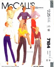 McCall's 7184 Sewing Pattern Misses Pants Size 18 - Waist 34