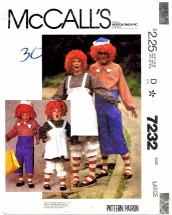 McCall's 7232 Raggedy Ann and Andy Costumes Bust / Chest 40 - 42
