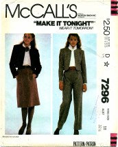 McCall's 7296 Jacket Skirt Pants Size 10