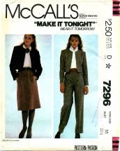 McCall's 7296 Jacket Skirt Pants Size 10
