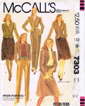 McCall's 7303 Sewing Pattern Jacket Skirt Pants Suit Size 14 Bust 36
