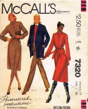 McCall's 7320 Sewing Pattern Coat Jacket Belt Size 14 - Bust 36