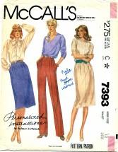McCall's 7393 PALMER & PLETSCH Skirt & Pants Size 12