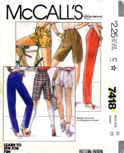 McCall's 7418 Sewing Pattern Pants Shorts Size 10 - Waist 25