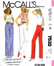 McCall's 7532 Sewing Pattern Fitting Straight Leg Pants Size 16 - Waist 30