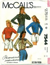 McCall's 7544 PALMER & PLETSCH Western Style Shirts Size 14