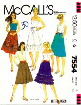 McCall's 7554 Flared and Ruffled Skirts Size 8 - Waist 24