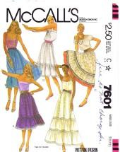 McCall's 7601 Boho Skirts Size 10 - 12 - Waist 25 - 26 1/2