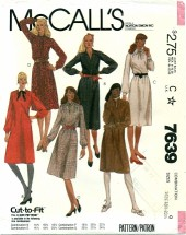 McCall's 7639 Pullover Dress Size 16 1/2 - 20 1/2