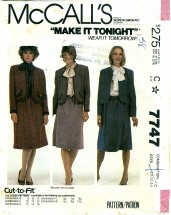 McCall's 7747 Misses Jacket & Skirt Size 10 - 14 - Bust 32 1/2 - 36