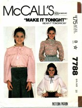 McCall's 7788 Girls Long Sleeve Blouse Size 10