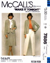McCall's 7886 Sewing Pattern Jacket Skirt Pants Suit Size 12 - 14 - 16
