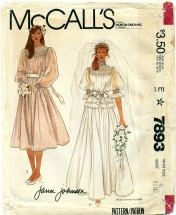 McCall's 7893 JANN JOHNSON Brides or Bridesmaids Gown & Slip Size 8