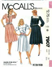 McCall's 7907 Misses Pullover Tucked Dress Size 10 - Bust 32 1/2