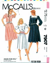 McCall's 7907 Pullover Tucked Dress Size 12